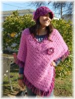 Misses Crochet Pink Poncho by noe6