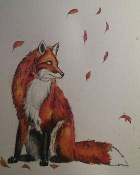 Watercolor Fox by Lynxcall