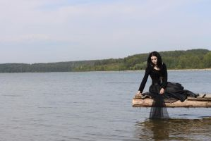 Goth Girl on the seaside II by MysteriaViolentStock