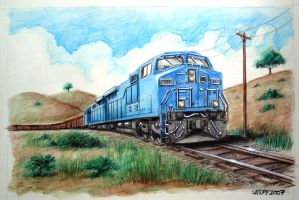 Another train watercolor by Latuff2