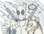 Deadpool and dogs by hyrelynk