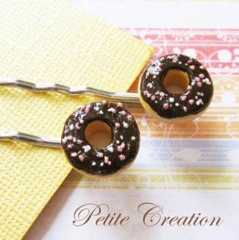 chocolate donut bobby pins by PetiteCreation