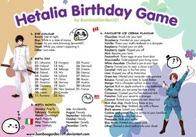 BambooGarden101's Hetalia Birthday Game by BambooGarden101