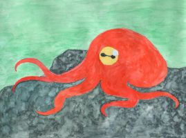 Watercolor Octopus by head-space88