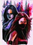 Jessica Jones and Elektra Netflix  by Mathieugeekboy