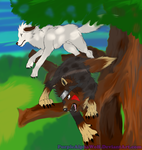 Attack Now! (Kiba and Akamaru) by PurpleAlphaWolf