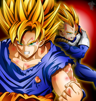 [Collab] Goku y Vegeta by Kurogane-Raziel
