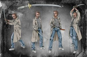 Connor MacLeod sword poses by Reymonkey