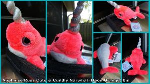 Applause Russ cuddly Neon orange Narwhal 8in by Vesperwolfy87