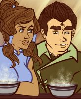 Bolin + Korra = Noodles by BlueSoulber