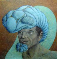 Man with blue trilobite helmet by chutson99