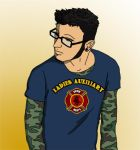 Hipster guy with tee shirt by CaptainLaurie