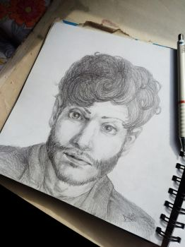 Iwan Rheon Portrait: in progress by SleepyMask