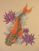 red and black koi by ScribblingTend