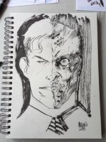 Two-Face Free Comic Book Day Sketch by kevinmellon