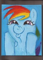 Rainbow Dash 6x10 inch acrylic on canvas portrait by Pwnyville