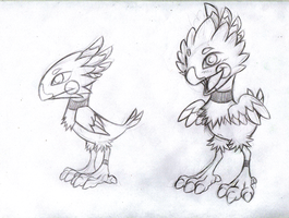 Some Type of Bird Pokemon SKETCH by KasaraWolf
