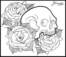 Skull and roses tattoo design by thirteen7s