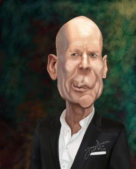 Bruce Willis caricature by r3cycled