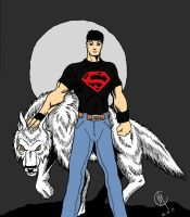Superboy and  Wolf by tat2tiger