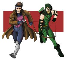 Gambit and Green Arrow by Stark-liverbird