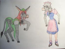 Sakuya and Meiling Donkey Tf by EduartBoudewijn