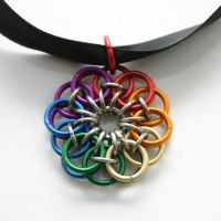 Rainbow Celtic Flower Pendant by Utopia-Armoury