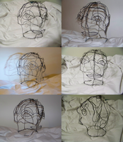 Wire Sculpture Head by WolfDeityProductions