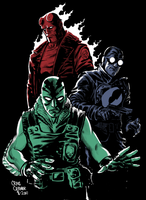 Hellboy, Lobster Johnson, Abe by craigcermak