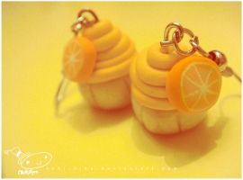 orange cupcake earrings by nuki-nina