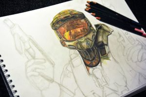 Halo Master Chief drawing by Teninchrecord