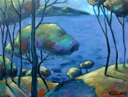 Sea and trees oil paint by Boias