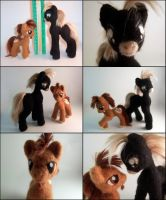 Annie and Arthur Needle Felted Posable Ponies by SnowFox102
