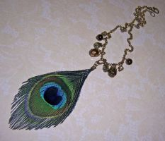 Peacock feather chain pendant by asukouenn
