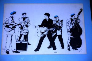 Gene Vincent and the Blue Caps art Repro by Pabloramosart