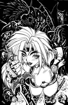 Inks for '98 Red Monika BATTLE CHASERS cover by AdamWarren