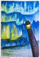 Northern Lighthouse Touchup (tiny cards for trees) by unSpookyLaughter