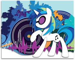 Commission:  Vinyl Scratch Shadowbox Mock-up. by The-Paper-Pony