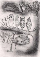 Bliss and the Owls of the Weathered Woods by InkyDreamz