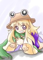 Suwako and Sanae at touhou by sora-amaori