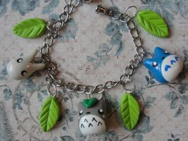 Kawaii Clay Totoro Bracelet by CraftyOlivia