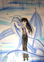 Leilani and her ice dragon by eclipsedsoul