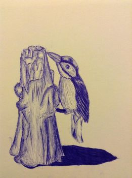 (Fake) Bird Pen and Ink Drawing by M-Chapman