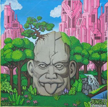 stone head in forest by rusel1989