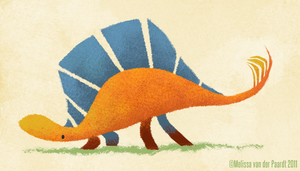 Orange Stegosaurus by sketchinthoughts