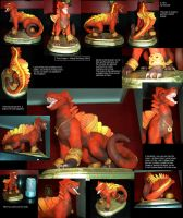 Fire Dragon Sculpture by kittifox