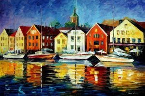 Northern harbor by Leonid Afremov by Leonidafremov