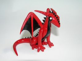Red Cartoon Dragon Sculpture by ByToothAndClaw