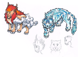[CLOSED] Adoptables -- Fire and Ice. by Yumikerr