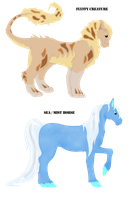 Adoptable. fluffy creature and horse by fableworld